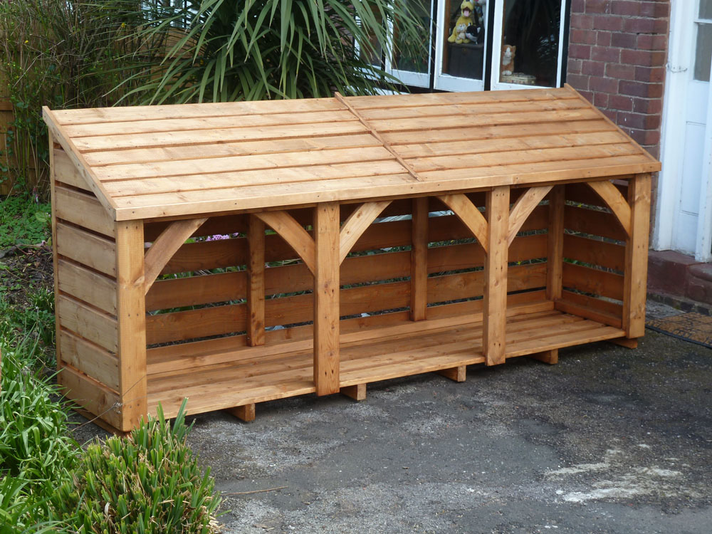 3 Bay Long Log Store. 280cm x 125cm. Fully Constructed